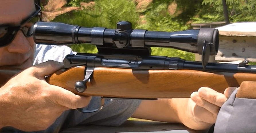 30-30 bolt action rifle and scope shooting