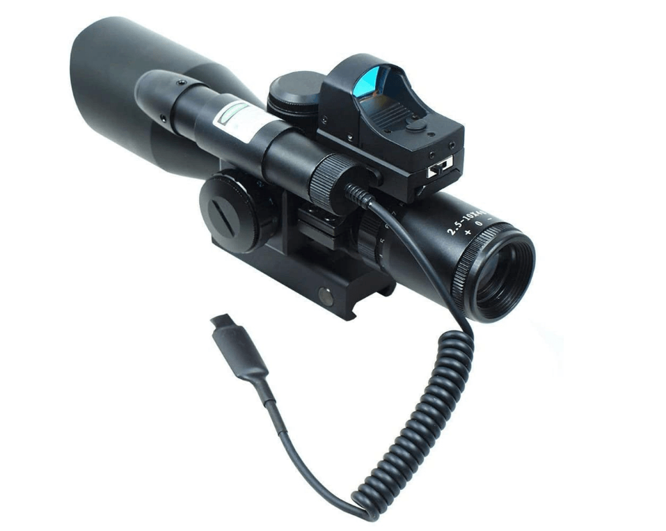 UUQ 2.5-10x40 Clarity+ Combo Rifle Scope Dual Illuminated Mil-dot W:Green Laser and Mini Reflex 3 MOA Red Dot Sight